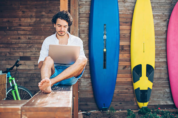 Technology and water sport stock photo