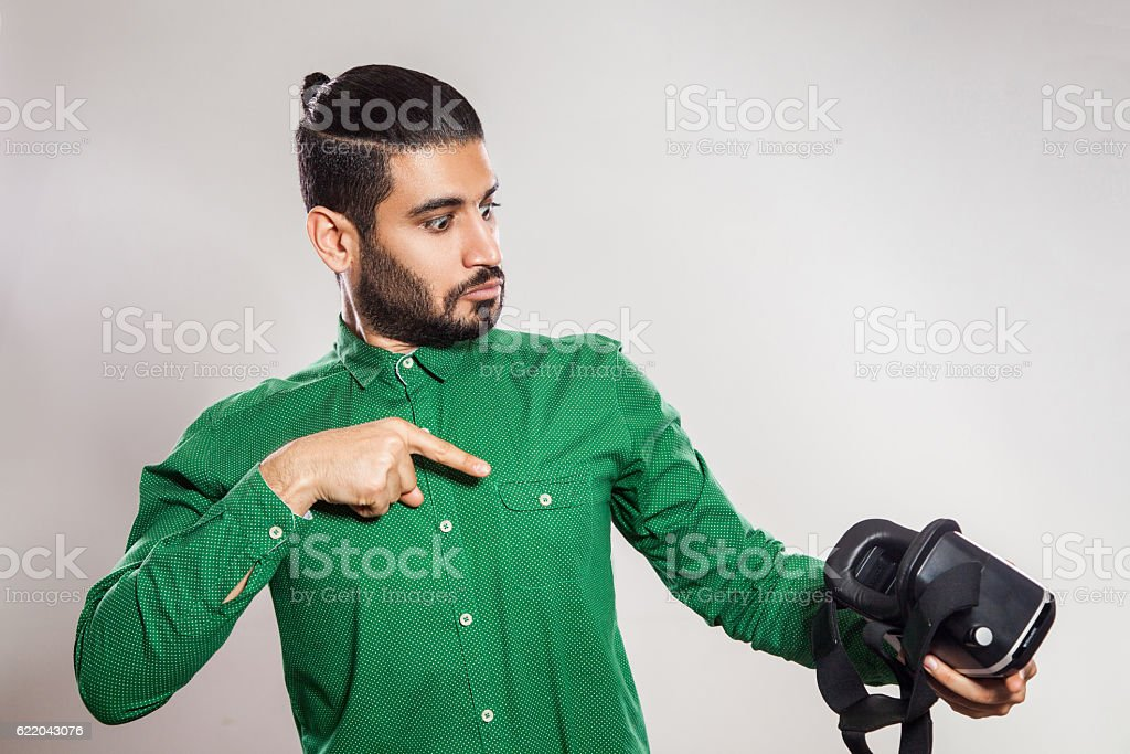 VR technology and young man. stock photo