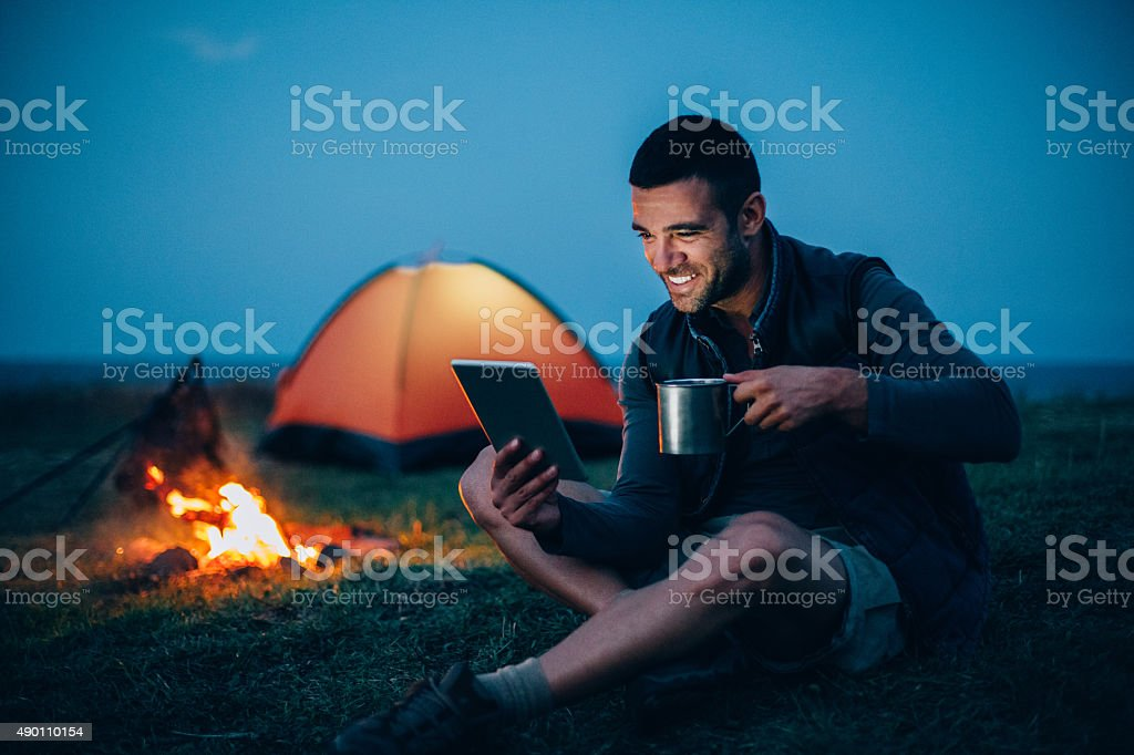 Technology at the night in the mountain stock photo