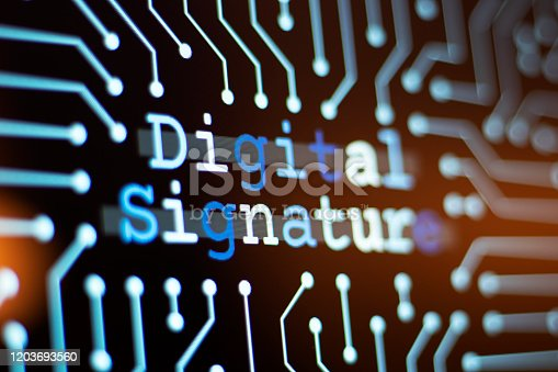 Technology Background and Circuit Board With Digital signature Message. Close-Up Computer Screen And Computer Terms Concept. Horizontal composition.