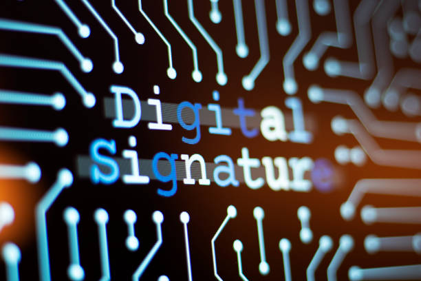 Technology Background and Circuit Board With Digital signature Message. Close-Up Computer Screen And Computer Terms Concept. stock photo