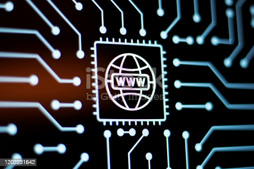 Technology Background and Circuit Board With Globe icon. Close-Up Computer Screen Concept. Horizontal composition.