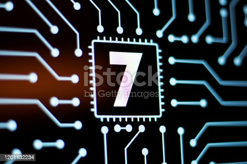 istock Technology Background and Circuit Board With Number 7. Close-Up Computer Screen Concept. 1201132234