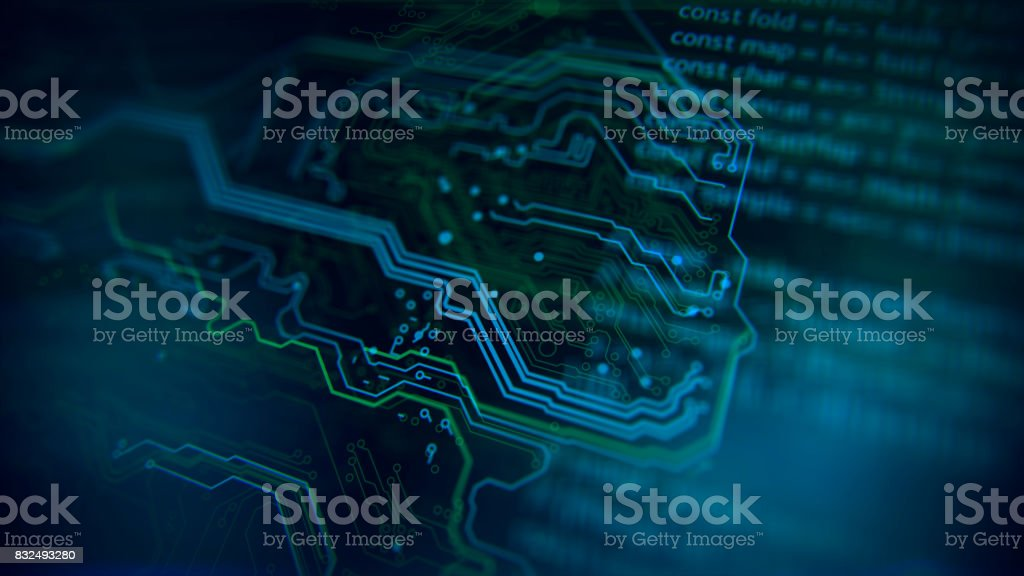 Technology background. Circuit board futuristic server code processing. stock photo
