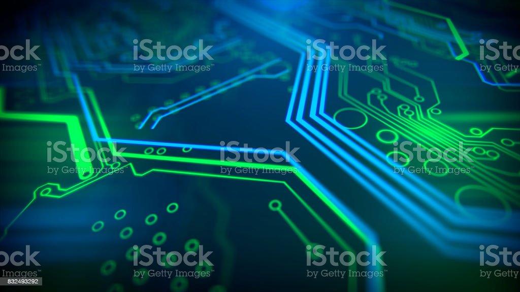 Contexte de la technologie. Traitement de code serveur futuriste circuit imprimé. - Photo