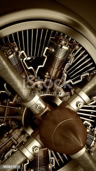 istock Technology background. close-up Radial engine aircraft 465841814