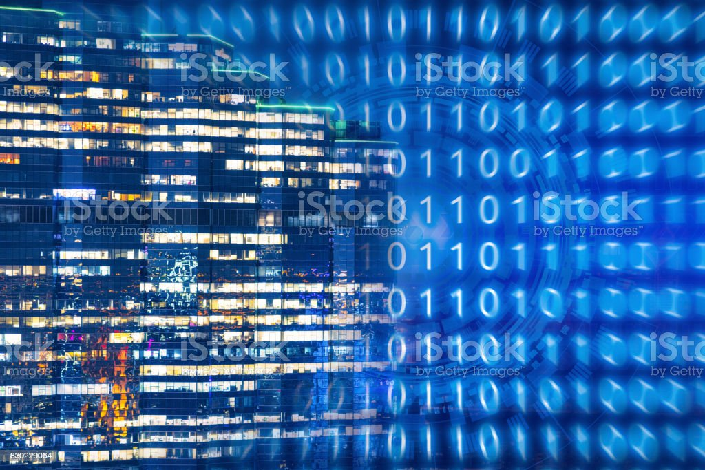 Technology background for smart city with internet of things technology stock photo