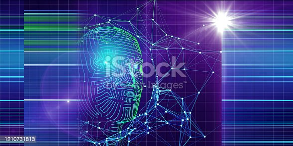 istock Technology background of 3d grid  head with blurred lines and star. Artificial intelligence concept for business and sciense. AI. 1210731813
