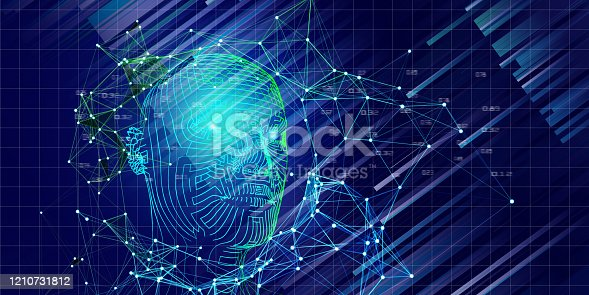 istock Technology background of 3d grid  head with blurred lines. Artificial intelligence concept for business and scientific. AI. 1210731812