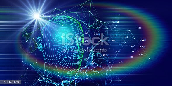 istock Technology background of 3d wireframe head with blurred lines and lens effects. AI. Artificial intelligence concept for business and scientific. 1210731731