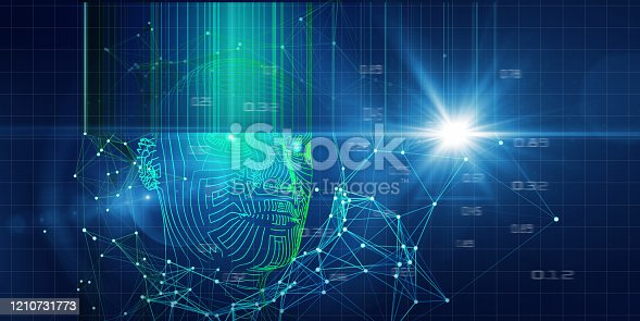 istock Technology background of 3d wireframe head with blurred lines and lens effects. Artificial intelligence concept for business and scientific. 1210731773