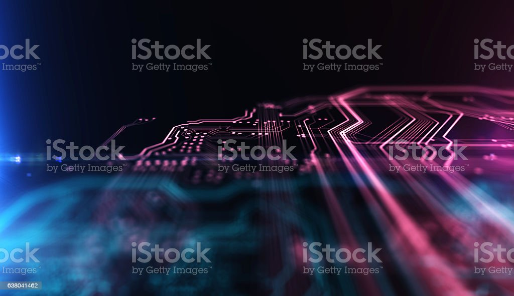 Technology background PCB and code. 3d Illustration - foto de stock