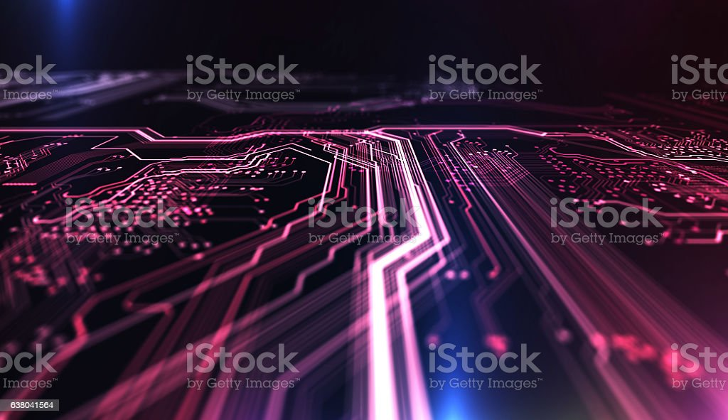 Technology background PCB and code. 3d Illustration - foto de acervo