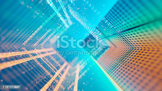 Abstract colorful grid and glowing particles