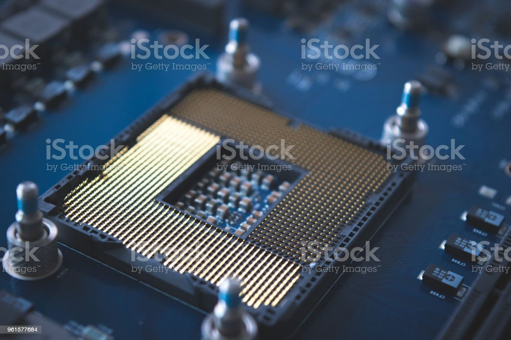 Technology background with computer server semiconductor processors CPU concept blue circuit board texture stock photo