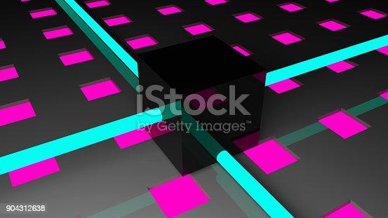 584751238istockphoto Technology background with neon elements. Digital illustration 904312638