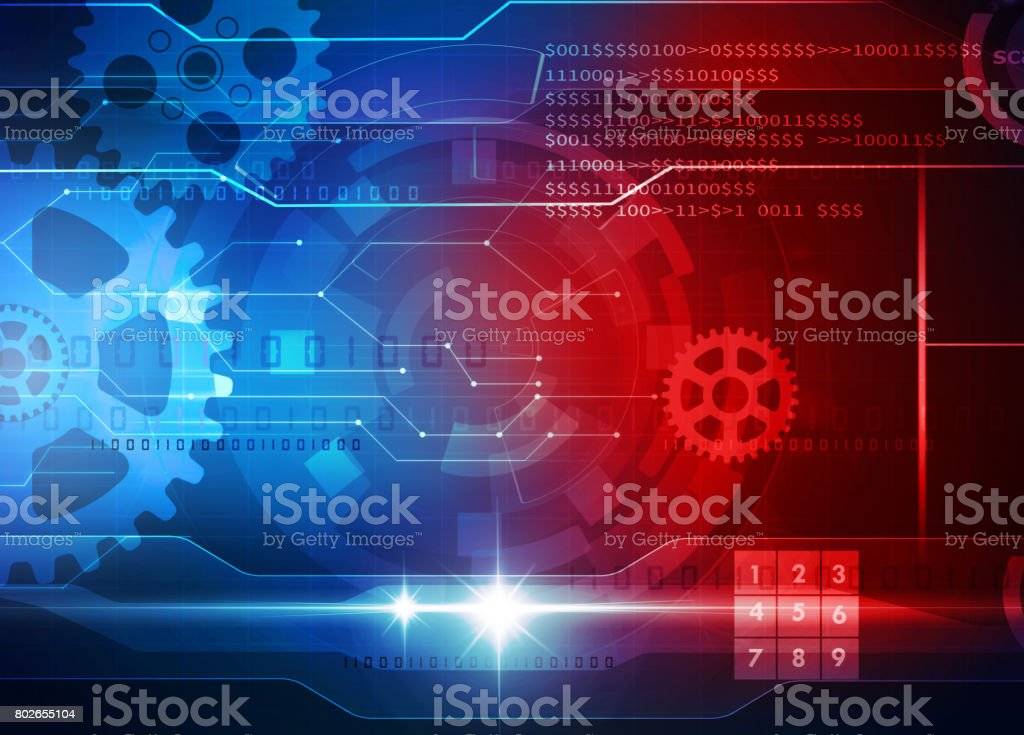 technology blue background stock photo