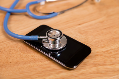 Technology Check Up For Sick Mobile Phone Stethoscope Stock Photo - Download Image Now