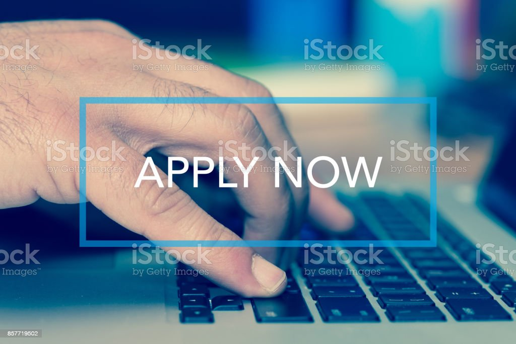 Technology Concept: APPLY NOW stock photo