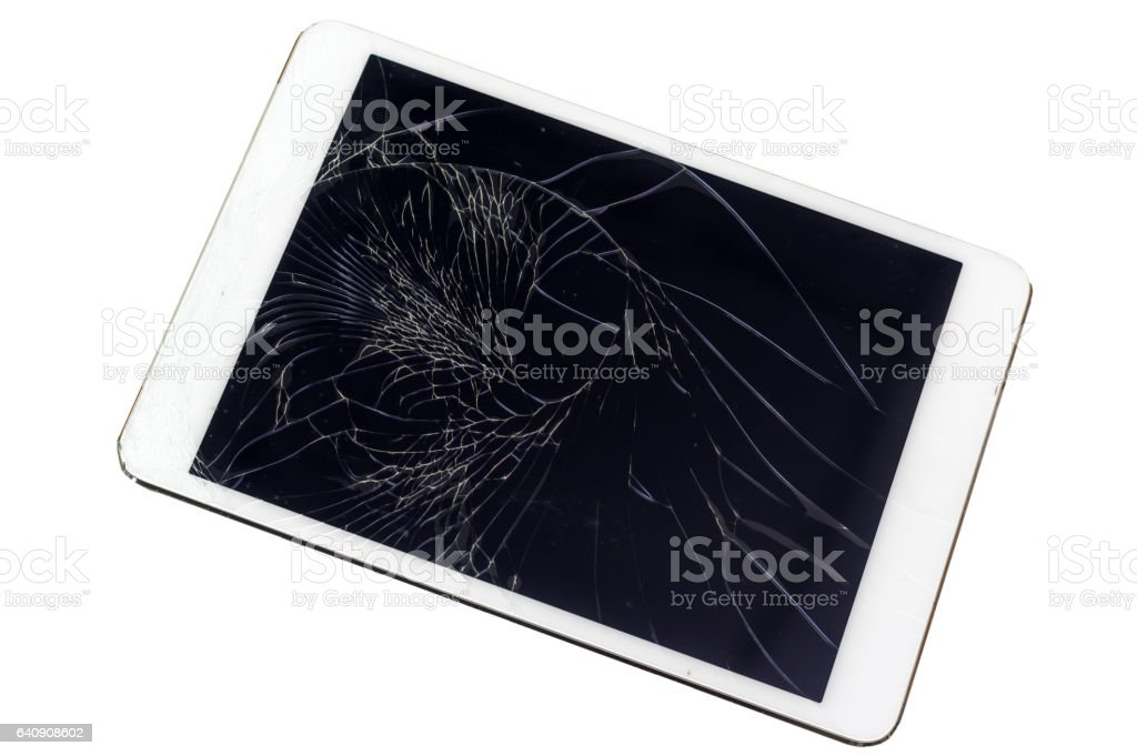technology concept, broken glass screen of Tablet computer stock photo
