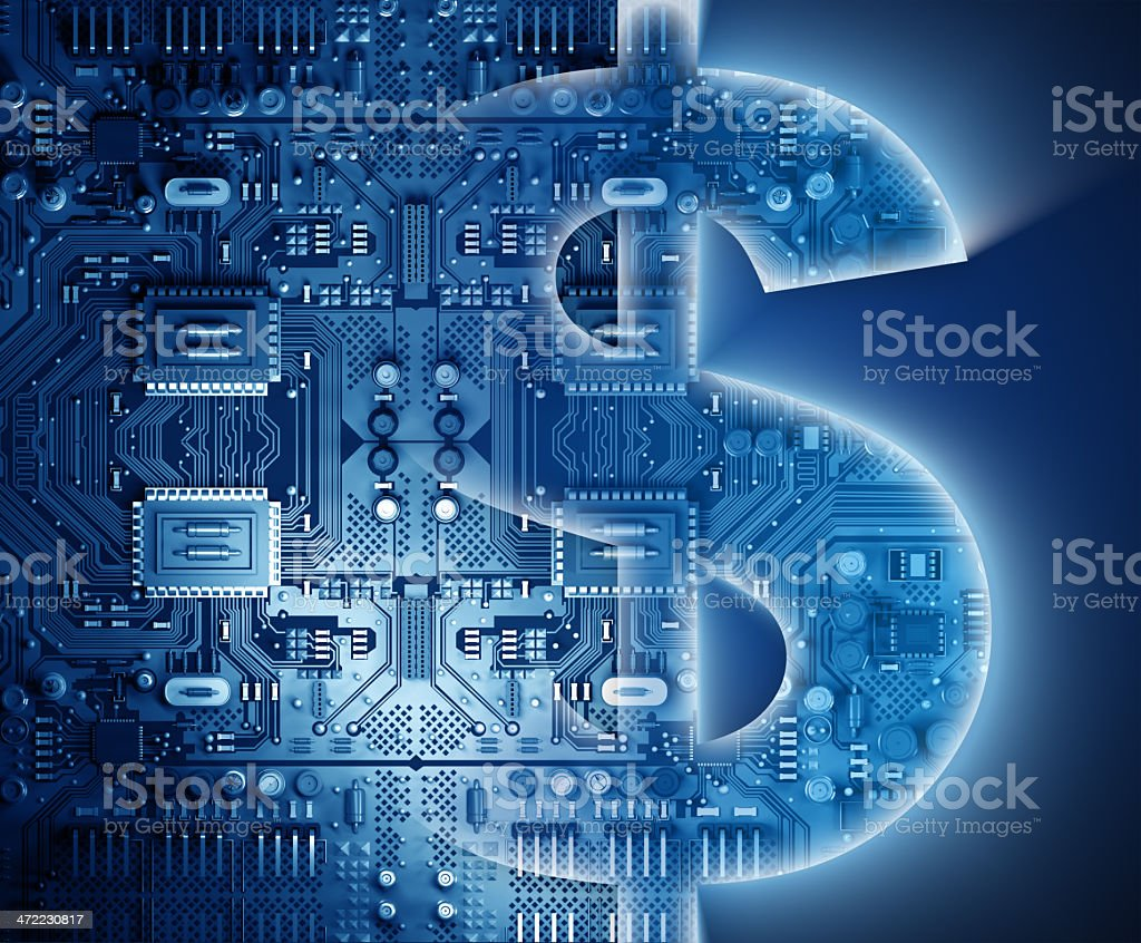 Technology concept: Dollar sign with circuits stock photo