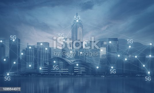 istock 5G technology connecting activity in the modern city concept in blue tone. 1035544372