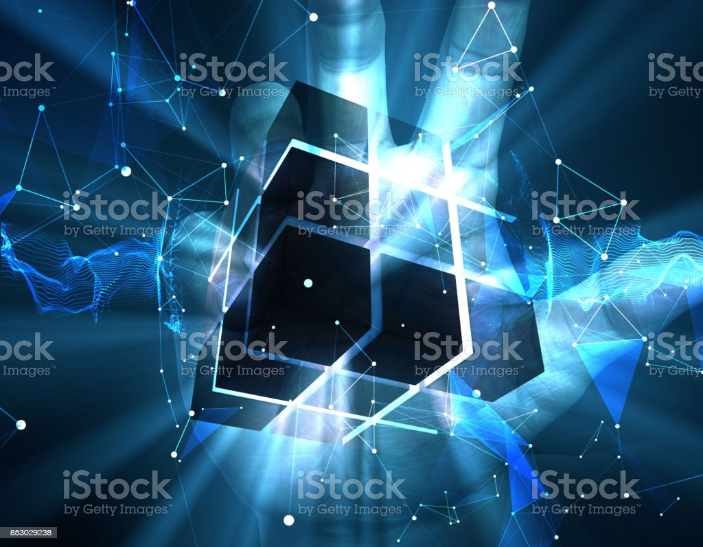 Technology cube, human technology stock photo