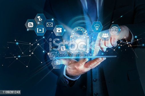 istock Technology Cyber Security concept Businessman Working in the Global Financial Network 1159281243