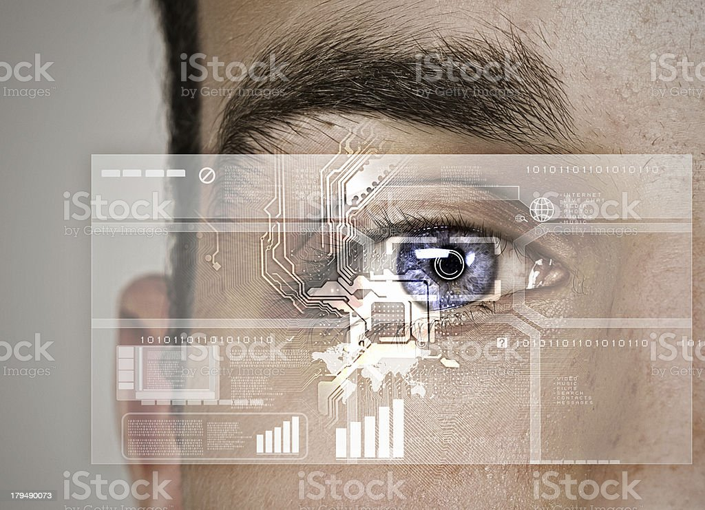 Technology diagram to identify eye stock photo