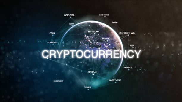 Technology earth from space word set with cryptocurrency in focus. Futuristic bitcoin crypto currency oriented words cloud 3D illustration. Crypto e-business keywords concept stock photo