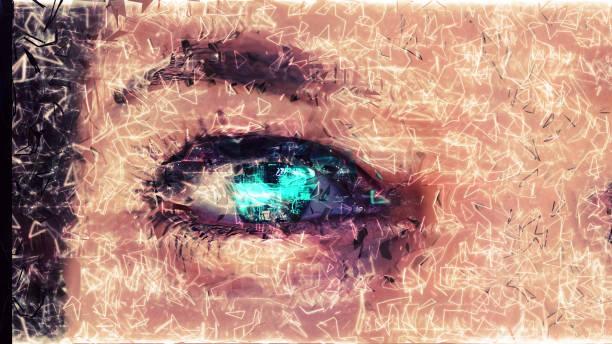 technische augen - illustration optician stock-fotos und bilder