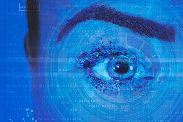 technologie augen - illustration optician stock-fotos und bilder
