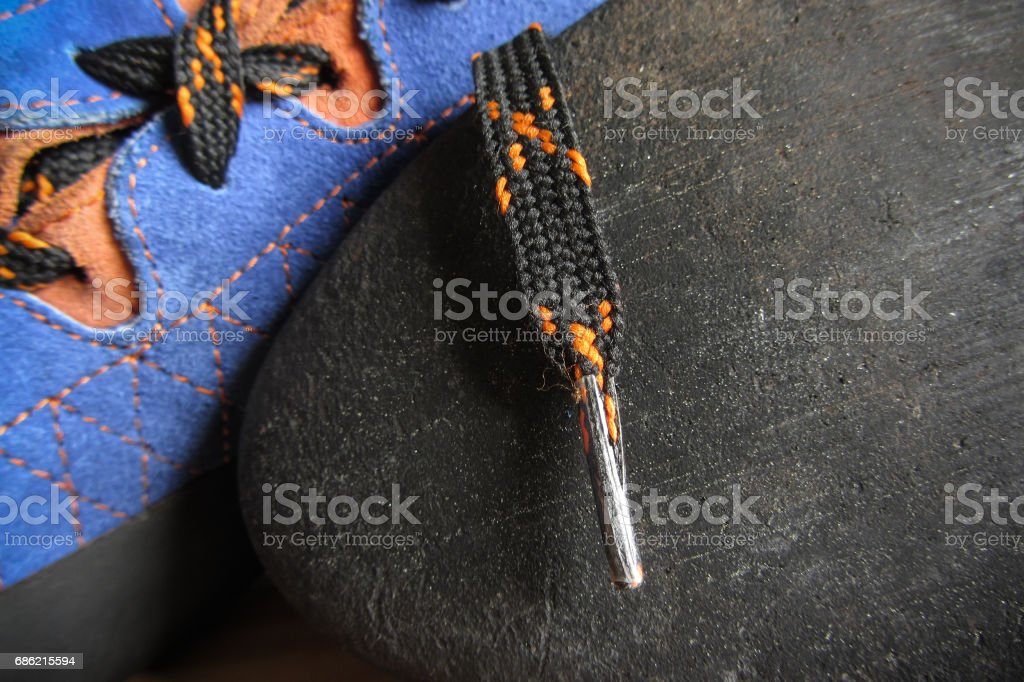 Technology for climbing shoes stock photo