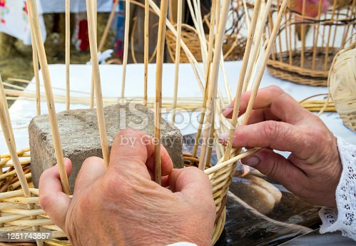 Technology for weaving baskets from peeled willow twigs