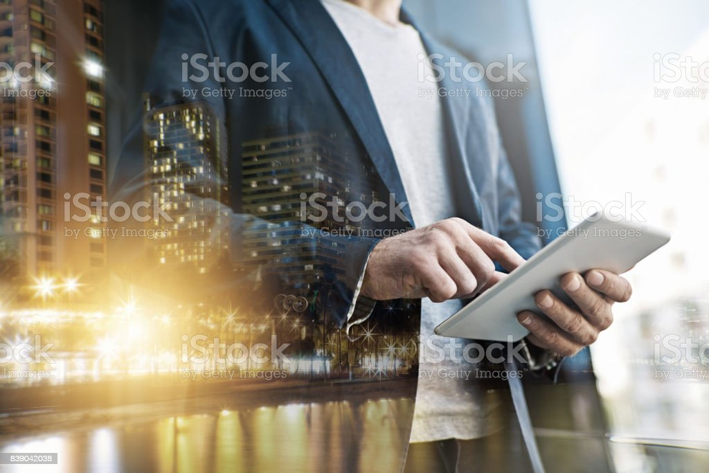 Technology gives him the competitive edge stock photo