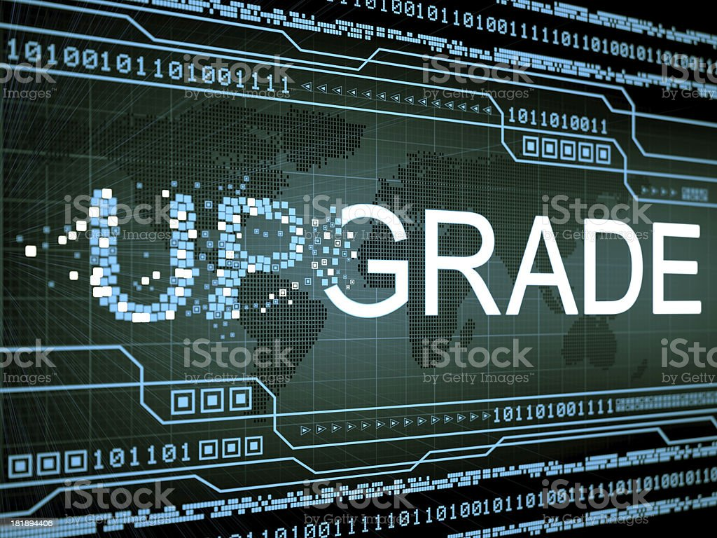 Technology graphic displaying upgrade royalty-free stock photo