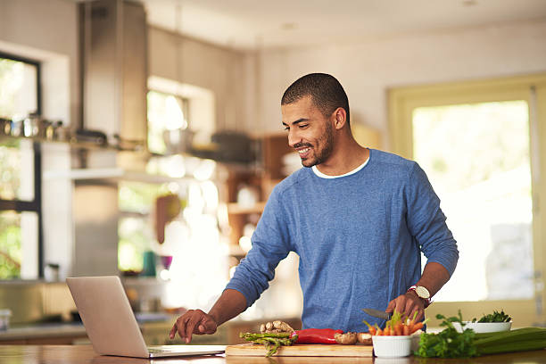Technology has it's place in the kitchen stock photo
