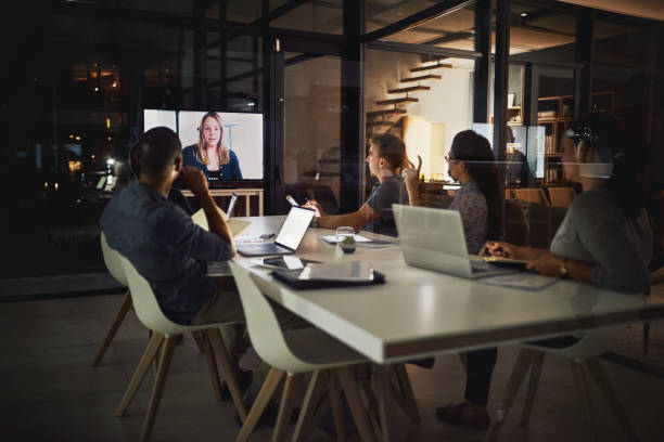 Technology has made it possible to have our meetings anywhere stock photo