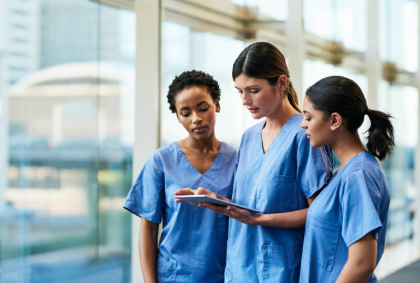 Technology helps to expand their medical knowledge and expertise stock photo