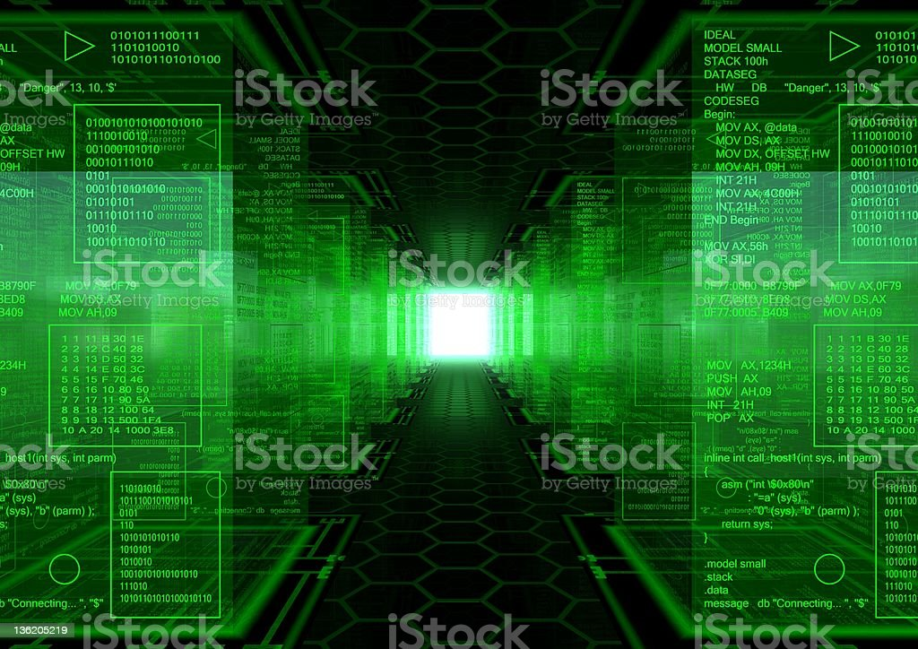 3D technology illustration showing path to the hacker world royalty-free stock photo