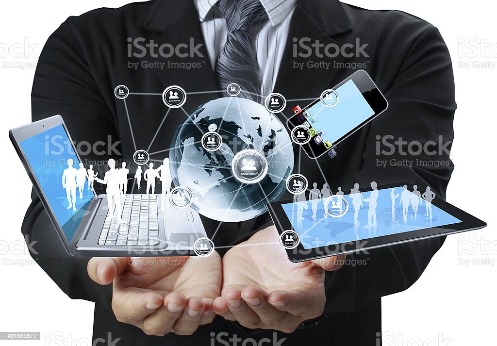 Technology in the hands stock photo
