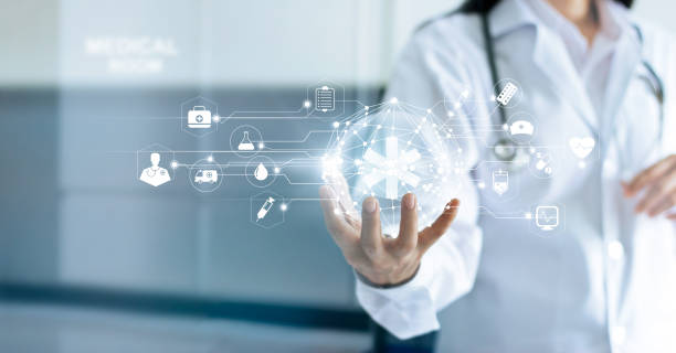 technology innovation and medicine concept. doctor and medical network connection with modern virtual screen interface in hand on hospital background - clinica medica foto e immagini stock