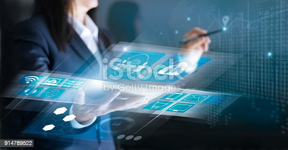 istock Technology Innovative and business network concept. Woman using interface social networking connection and payments online shopping on virtual screen 914789522