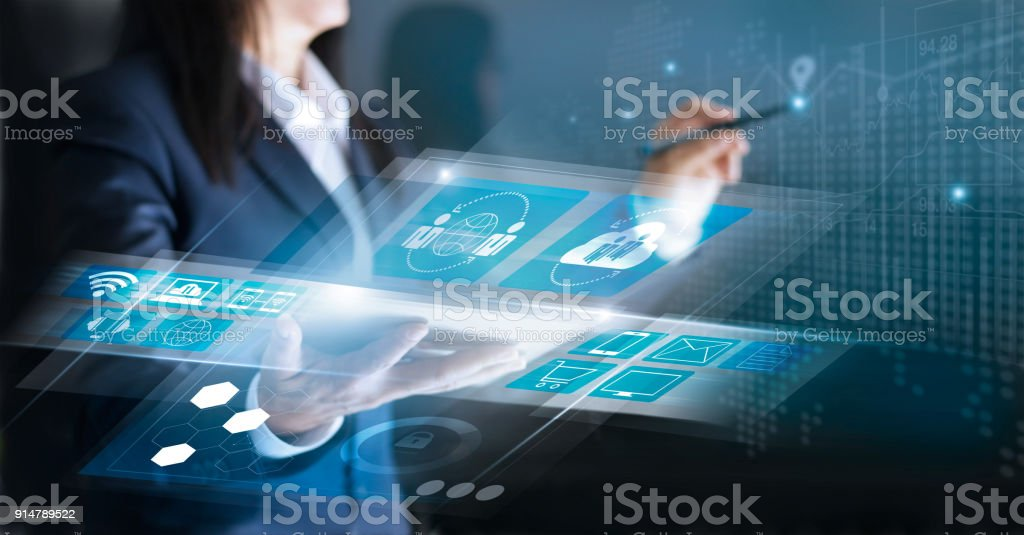 Technology Innovative and business network concept. Woman using interface social networking connection and payments online shopping on virtual screen stock photo