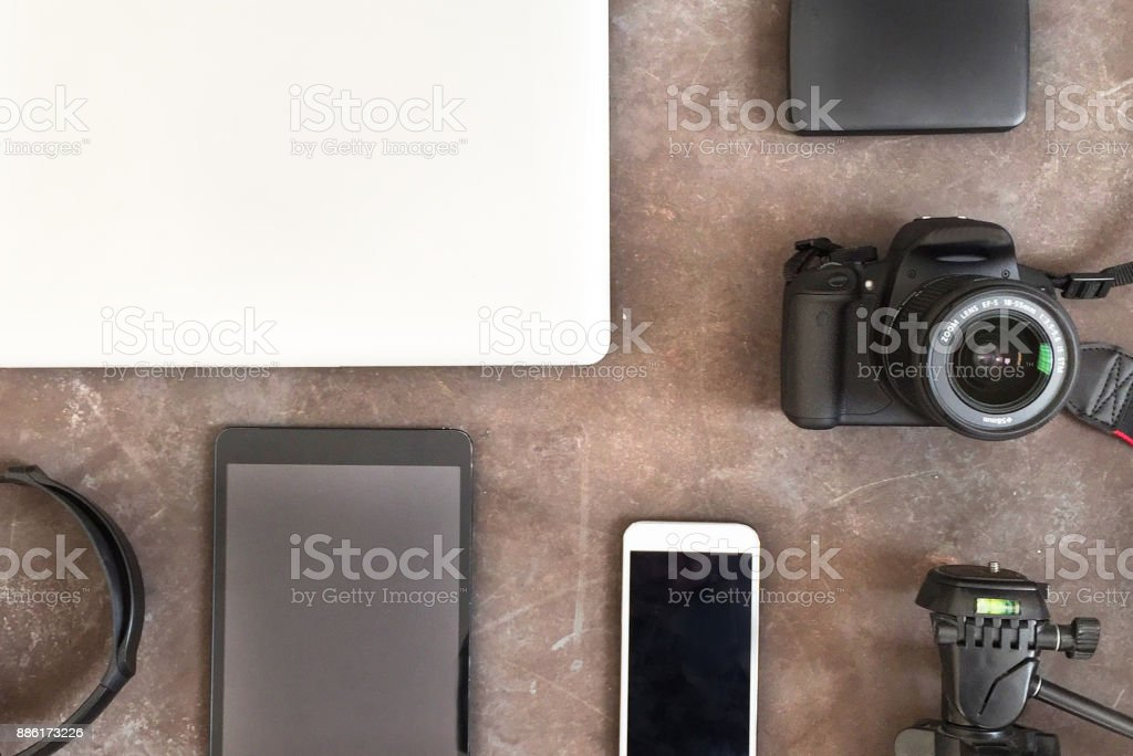 Technology items top view stock photo