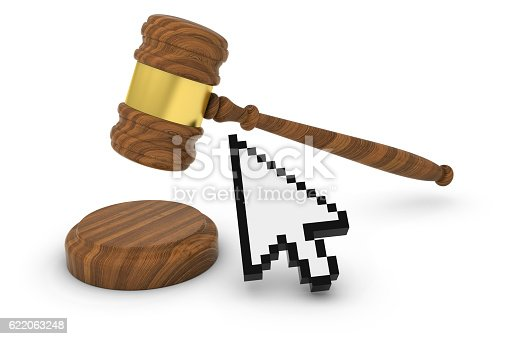 812823858istockphoto Technology Law Concept - Judge's Gavel with Computer Arrow Cursor 622063248
