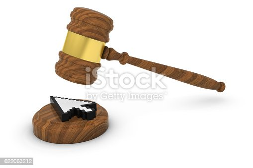 812823858istockphoto Technology Law Concept - Judge's Gavel with Computer Pointer Cursor 622063212