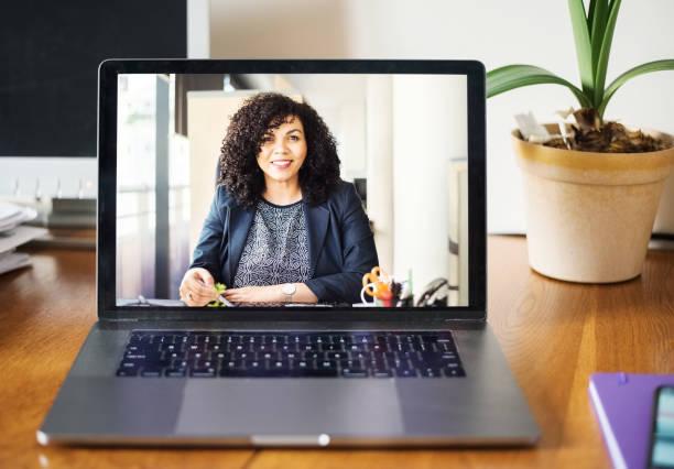 Technology makes business communication easier stock photo
