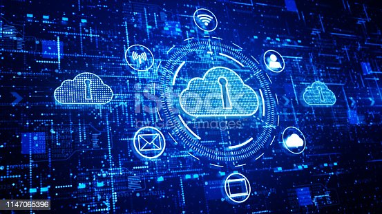 istock Technology network and data connection, Secure Data Network Digital Cloud Computing, Cyber Security Concept 1147065396
