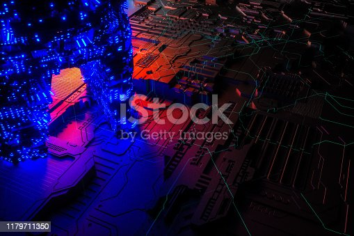 istock Technology networks board background 1179711350